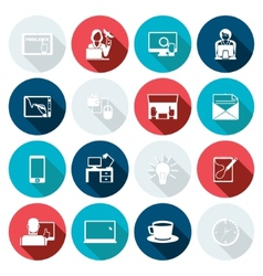 Freelance Icon Flat Set vector image