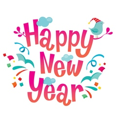 Happy new year lettering and decoration vector