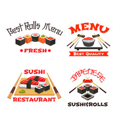Icons set of japanese restaurant sushi menu vector