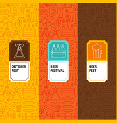line oktoberfest patterns set vector image