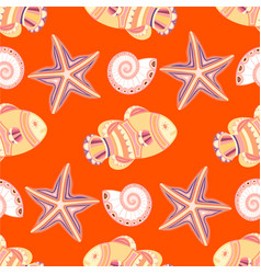 marine seamless pattern with fish starfish vector image