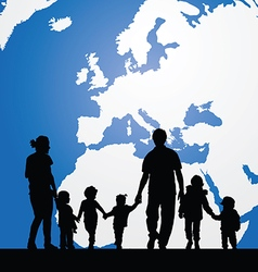 Migration family with children and map in vector