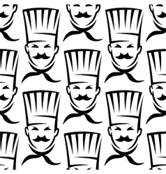 Mustached chefs in professional uniform seamless vector image