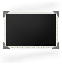 Retro photo frame in vintage photo corners vector image