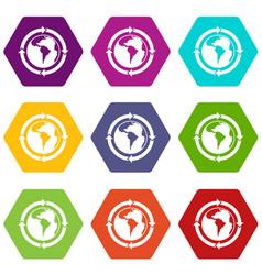 round arrows around world planet icon set color vector image