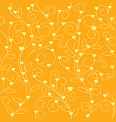 Seamless floral heart fabric orange tone vector