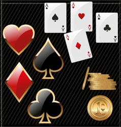 Set of shiny card suit icons and golden poker vector
