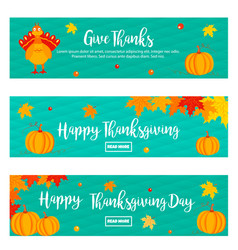 set of thanksgiving banners with turkey vector image