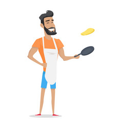 Smiling man with beard cooking vector