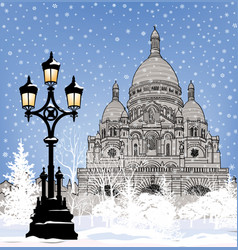 snowy paris city landmark winter christmas vector image vector image