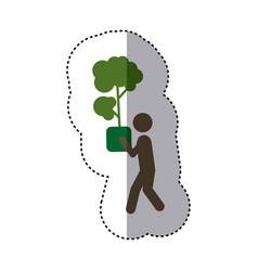 Sticker shading colorful pictogram planting trees vector