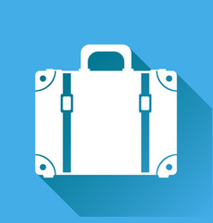 Suitcase flat on blue background with long shadow vector