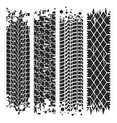 Tire tracks with grunge texture rubber vector