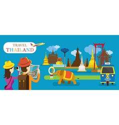 Tourist travel thailand flat design vector