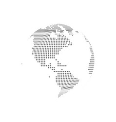 White dotted globe glass transparent vector