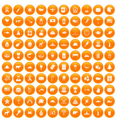 100 north america icons set orange vector