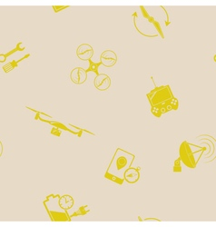 Seamless pattern with drone icons vector