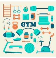 Set of fitness equipment vector
