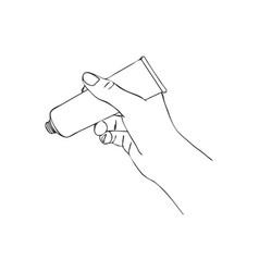 Hand with cosmetic cream tube vector