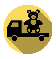 Truck with bear  flat black icon with flat vector