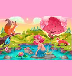 Fantasy scene with mermaid and animals vector