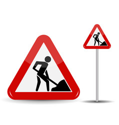 Road sign warning road works in the red triangle vector