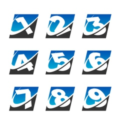 Swoosh sport number logo icons set vector