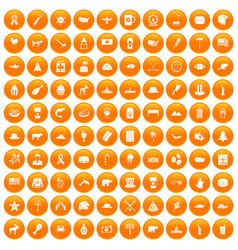 100 north america icons set orange vector