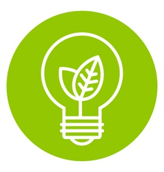 Ecology light bulb icon in green circle vector