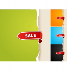 Set of 4 teared papers with sale bar vector