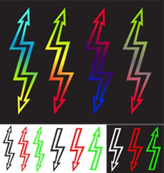 Iridescent sign double-ended arrow lightning vector