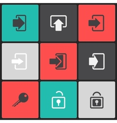 Login web icon set on a color square vector