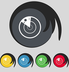 Radar icon sign symbol on five colored buttons vector