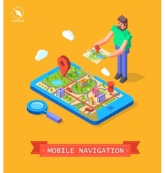 Gps in mobile navigation vector