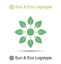 Nature logo icon symbol sun from leaves vector
