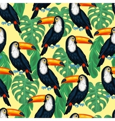 Tropical birds seamless pattern with toucans and vector