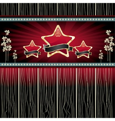 gold stars with ribbon vector image