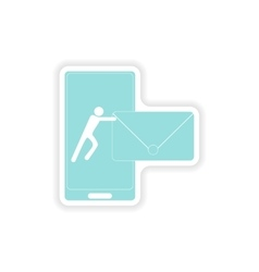Paper sticker on white background sending sms vector