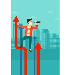 Man with spyglass on rising arrow vector