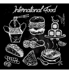 International food menu set vector