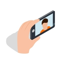 Young man taking selfie photo icon vector