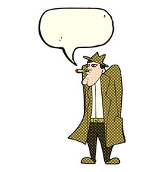 Cartoon man in hat and trench coat with speech vector