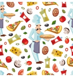 Cartoon seamless pattern with ingridients vector image