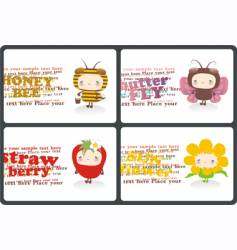 childish horizontal business cards vector image