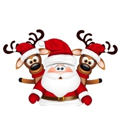 Christmas card Santa Claus and two reindeer vector image vector image