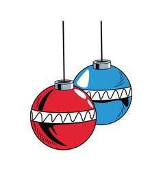 Christmas decorative balls pop art cartoon vector