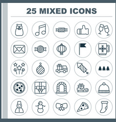 Christmas icons set collection of snow person vector