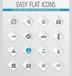 Coast guard icons set vector