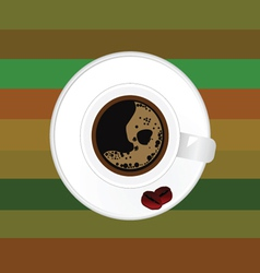 Cup of coffee with two bean vector