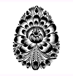 Decorative floral silhouette easter egg vector